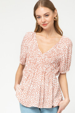Red Floral Smocked Top, Ivory