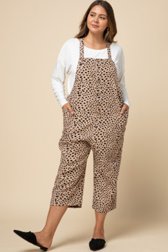 Curvy Cheetah Button Front Jumpsuit, Taupe