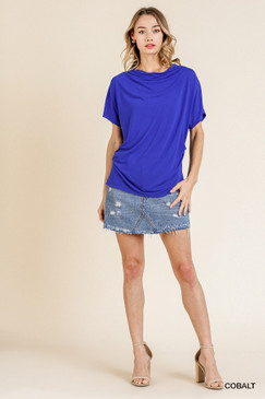 SS Cowl Neck Top w/ Gathered Side, Cobalt