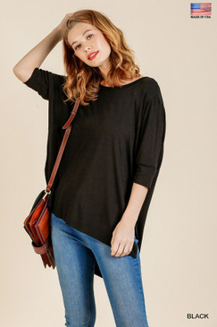 3/4 Sleeve Basic Top with High-Low, Black