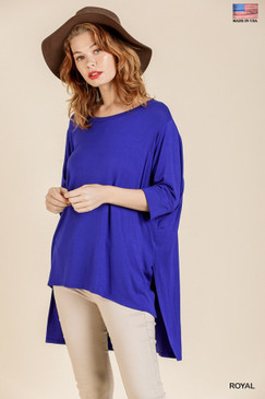 3/4 Sleeve Basic Top with High-Low, Royal