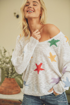 Colorful Star Print Knit Sweater, Ivory Mix