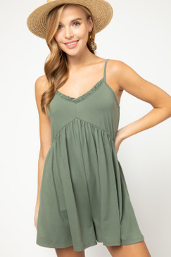 V-Neck Ruffle Detailed Romper, Army