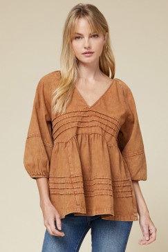 Free People Inspired Top, Caramel
