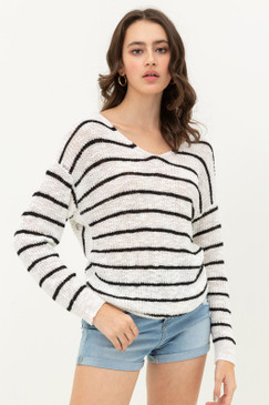 Striped T-Back Sweater, White/Black
