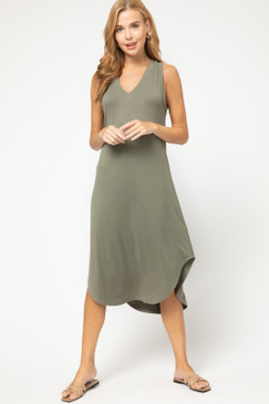 Sleeveless V-Neck Midi Dress, Olive