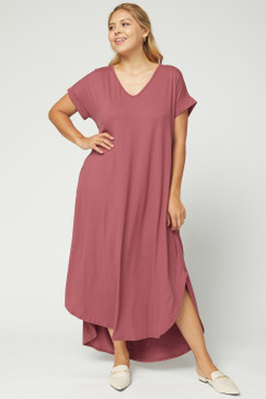 Curvy Solid V-Neck Maxi Dress, Marsala