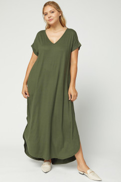 Curvy Solid V-Neck Maxi Dress, Olive