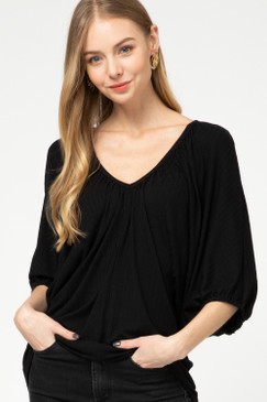 Puff Sleeve Ribbed V-Neck Top, Black