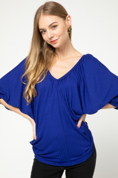 Puff Sleeve Ribbed V-Neck Top, Royal Blue