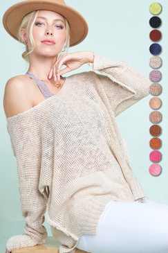 Open Knit Sweater w/ Cuff Sleeves, Natural