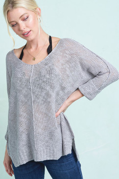 Open Knit Sweater w/ Cuff Sleeves, Silver