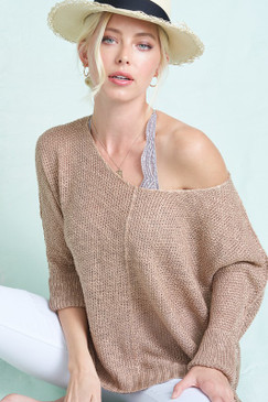 Open Knit Sweater w/ Cuff Sleeves, Taupe