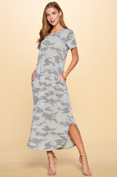 SS Camo Knit Maxi Dress, Camo Grey