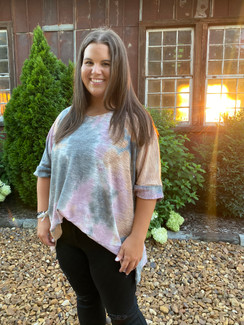 Curvy Tie Dye SS Knit Top, Lavender Grey