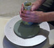Polishing pad in use, just place the pad on the steel diamond disc and it will automatically attach to it.