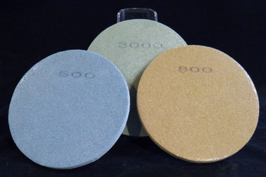 #500, #800 (very fine), and #3000 (extremely fine) polishing pads