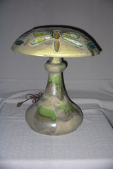 """Fulpersque""  Stoneware Lamp and Shade, with Stained Glass Inserts"