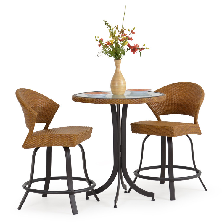 Empire patio wicker 3 piece counter height bistro set cork for Tall patio chairs sale