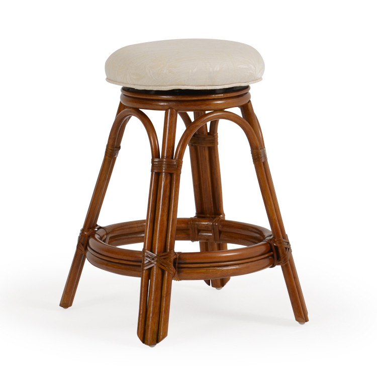 Rattan Backless Swivel Counter Stool Leaders Casual