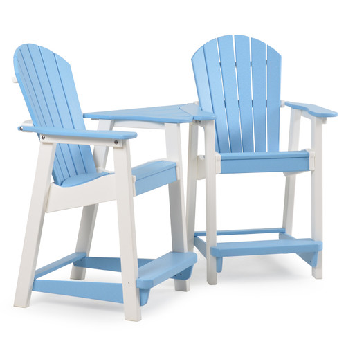 Adirondack Patio Counter Stool Set with Slide In Table  sc 1 st  Leaderu0027s Casual Furniture & Poly Lumber Patio Adirondack Counter Height Set with Table for Sale ...