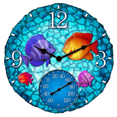 14 Quot Round Tropical Fish Outdoor Clock And Thermometer
