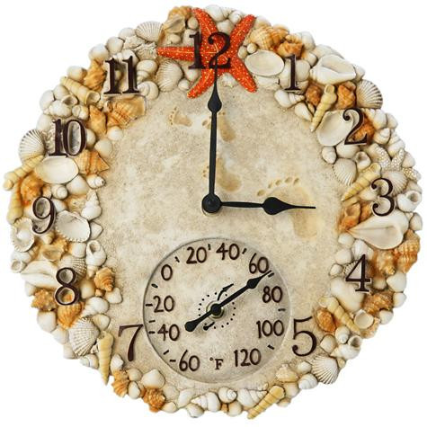 14 Quot Round Seashell Outdoor Clock And Thermometer Leaders Casual Furniture