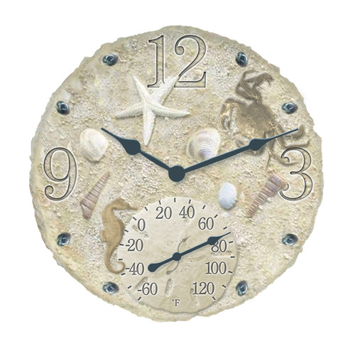 Seashells Outdoor Clock And Thermometer For Sale Leaders