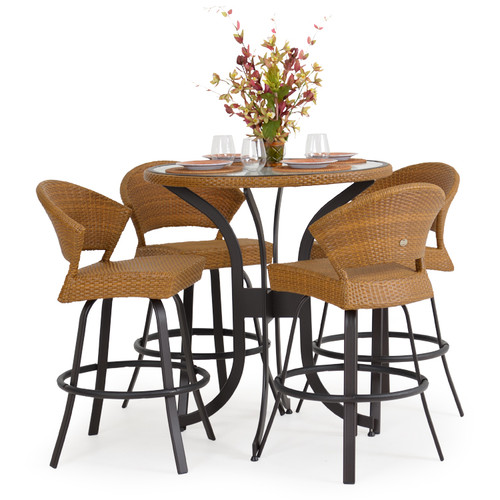 Empire Patio Wicker 5 Piece Bar Height Set Cork For Sale