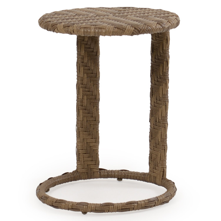 Kokomo Outdoor Wicker Round End Table Oyster Grey Leaders Casual Furniture