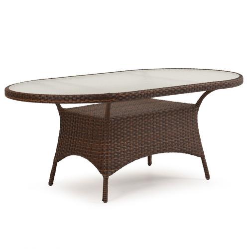 Kokomo Outdoor Wicker 40 X70 Oval Dining Table Tortoise Shell