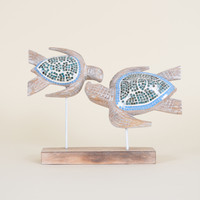Double Wooden Turtle on  Stand with Mosaic