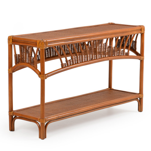 Bali Rattan Console Table Pecan Glaze For Sale Leaders Furniture