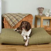 Deep Fill Dog Mattress - Green Tweed