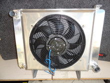 "Polished Aluminum Radiator, Custom Aluminum Shroud, & 16"" Electric Fan Combo"