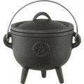 "Cast Iron Pentacle Cauldron 4.25"" dia."