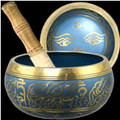Buddha Brass Singing Bowl - Blue 5.5""