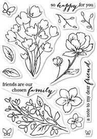 Poppystamps Craft Die - Friends and Flowers Clear Stamp Set (CL-444)