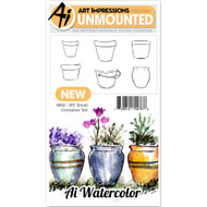 Art Impressions - Watercolor Cling Rubber Stamp - Small Container (AI4869)