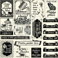 7Gypsies - 12 x 12 Scrapbook Paper - Garden Sayings On Ivory