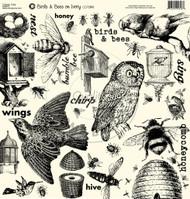 7Gypsies - 12 x 12 Scrapbook Paper - Birds & Bees On Ivory