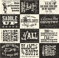 7Gypsies - 12 x 12 Scrapbook Paper - Boots & Saddle Sayings On Ivory