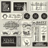 7Gypsies - 12 x 12 Scrapbook Paper - Farmhouse Christmas Tags On Ivory
