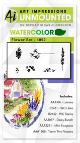 Art Impressions - Watercolor Cling Rubber Stamp - Flower Set