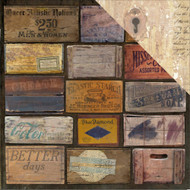 """7 Gypsies Architextures Cardstock 12""""X12"""" - Stenciled Crates"""