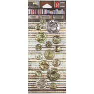 7 Gypsies Architextures Findings Adhesive Embellishments - International Coins