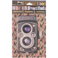 "7 Gypsies Architextures Treasures Adhesive Embellishments - Vintage Style Camera 4"""