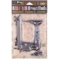 7 Gypsies Architextures Treasures Adhesive Embellishments - Vintage Sewing Machine
