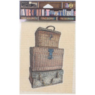 """7 Gypsies Architextures Treasures Adhesive Embellishments - 3 Stacked Wicker Woven Trunks 4"""""""