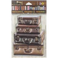 "7 Gypsies Architextures Treasures Adhesive Embellishments - 4 Stacked Leather Suitcases 4"""